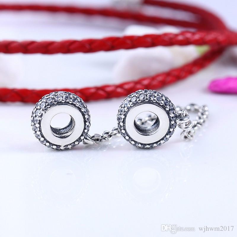 Cristal Étincelant Pavé Inspiration Sécurité Chaîne Perles Authentique 925 Bijoux En Argent Sterling Pour DIY Marque Bracelets Bijoux Accessoires
