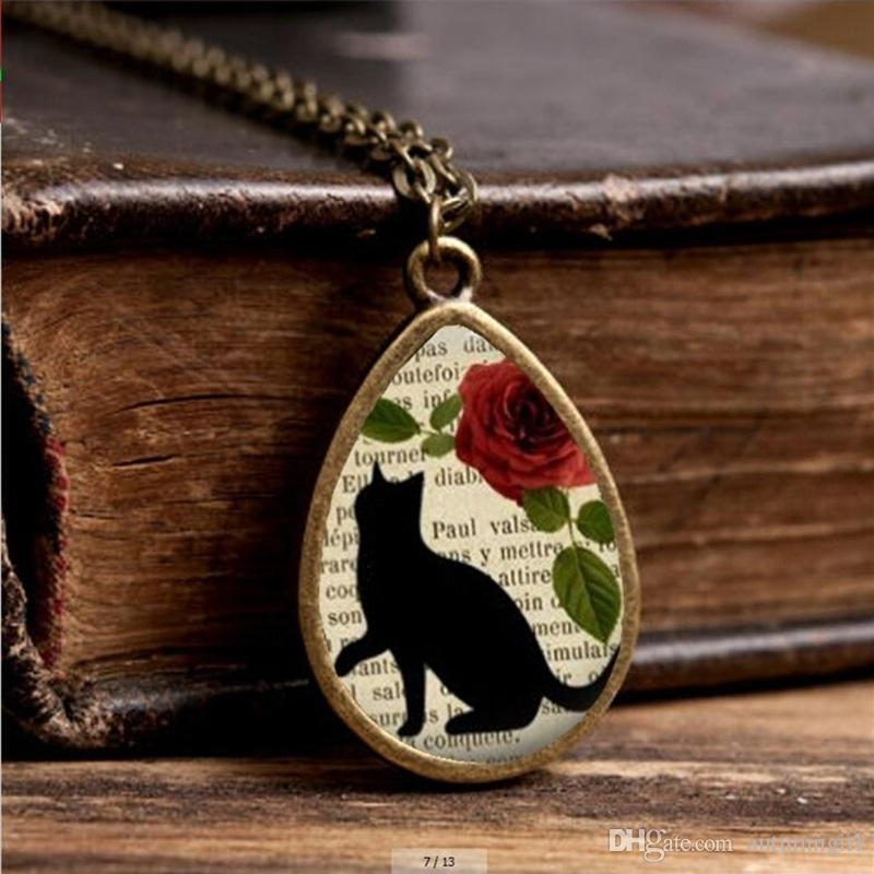 2019 New Cat Silhoette Necklace Cute Black Cats Jewelry Tear Drop Pendant Vintage Glass Photo Necklaces Gifts Girl