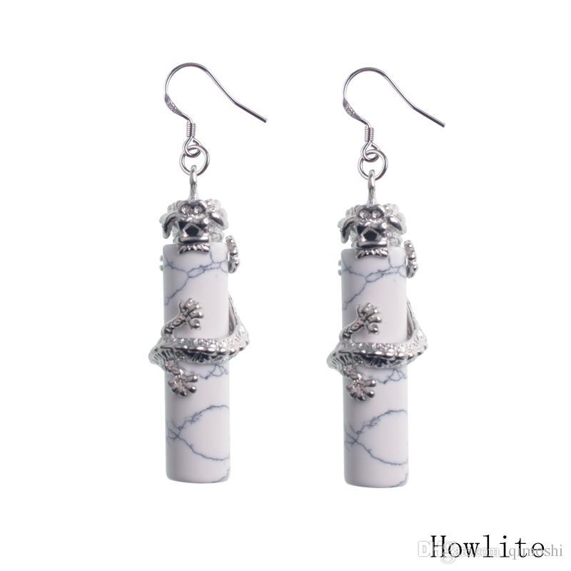 925 Sterling Silver Silver Pierre Naturelle Crystal Dangle Lustre Colonne Chinoise Dragon National Boucles d'oreilles Verre National pour Femmes Boucles d'oreilles longues
