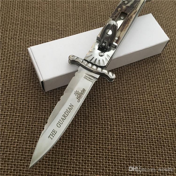 Хьюбертус Золинген Патрон Хранитель Билл ДеШивс 8.5-дюймовая рукоятка из нержавеющей стали I-Antler Ручка одноразового действия Карманный складной нож для кемпинга Ножи