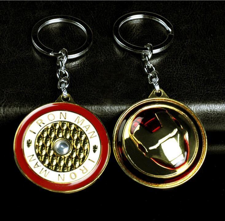 4 stücke Drehen The Avengers Alter von Ultron Iron Man Keychain Hulkbuster Portrait 3D Gold Metall Hot geschenk schlüsselanhänger chian halter für auto souvenirs