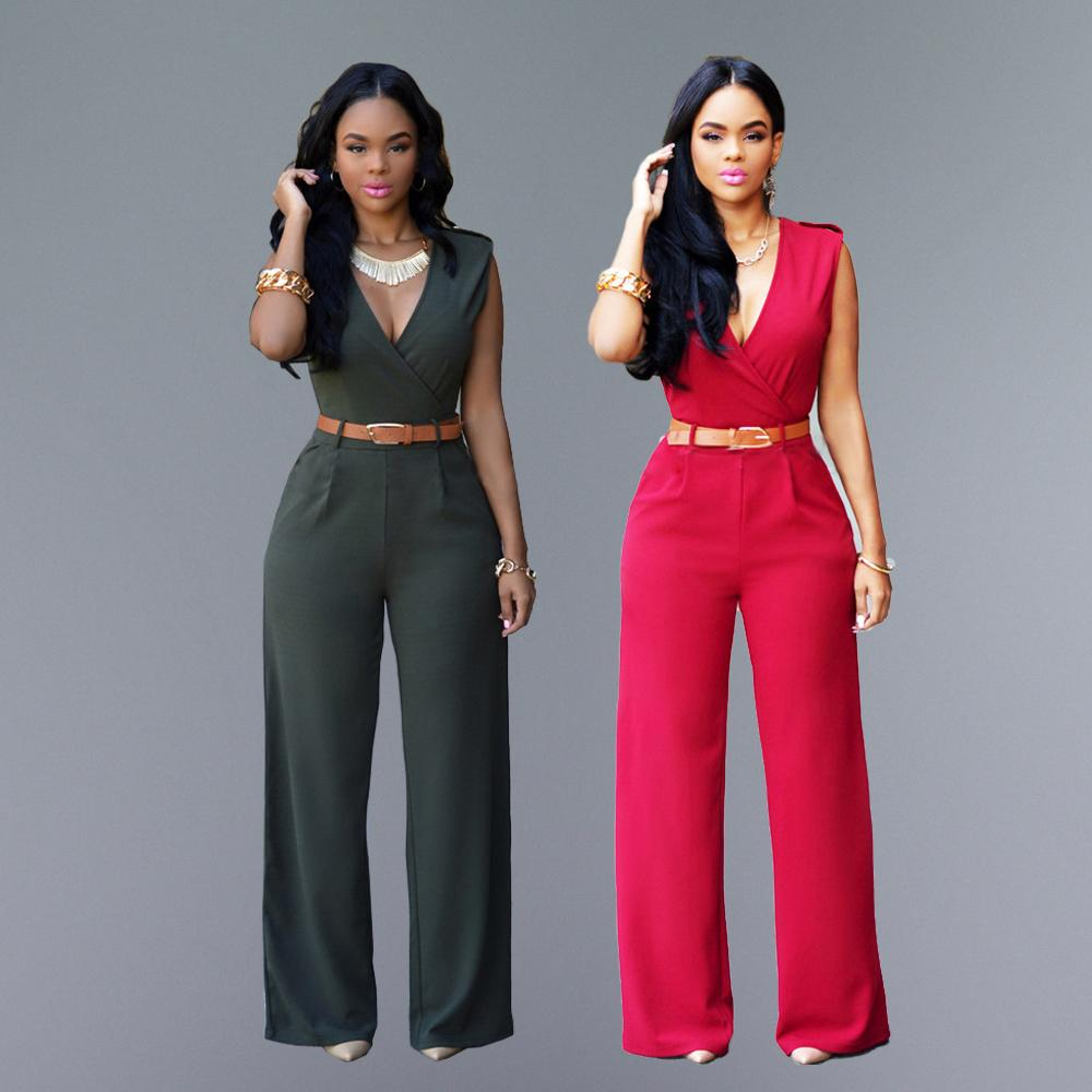 2ee5e70c83ac 2019 Wholesale Fashion Sexy Jumpsuits Ladies Loose Slim Casual Party Overalls  Women Sleeveless Club Rompers With Belt From Harrvey