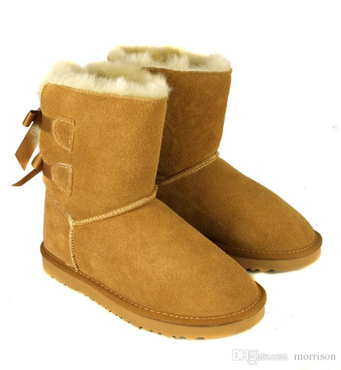 NEW Christmas Promotion Womens BAILEY BOW Boots Belt bow snow boot leather Snow Boots for Women