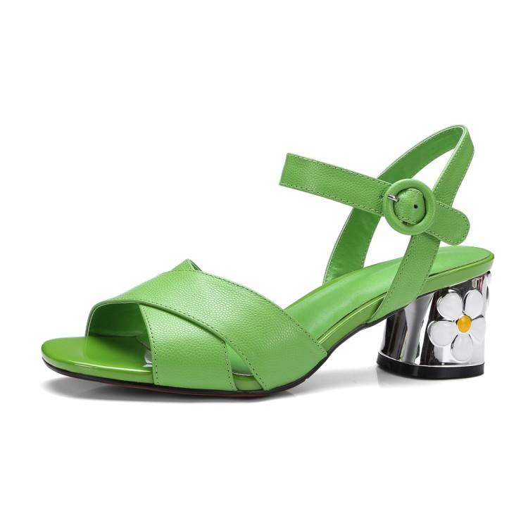 d6e36eae0100 2017 Women Summer Sandals National Trend Thick Heel Applique Genuine  Leather Yellow Green Shoes 34 42 Size Designer Shoes White Shoes From  Tu108