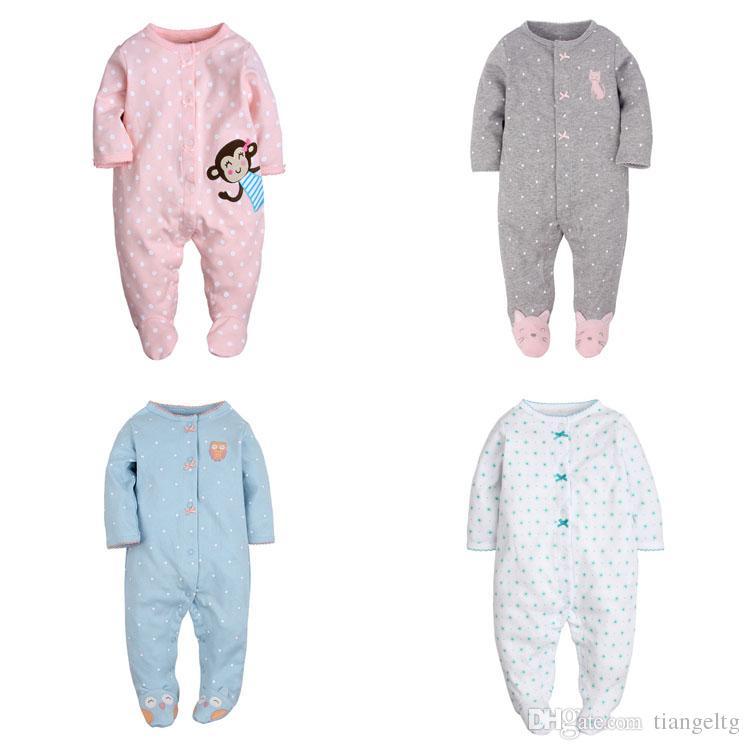 8d7946879 2019 Baby Girls Footies Jumpsuit Rompers Onesies Long Sleeve 6 ...