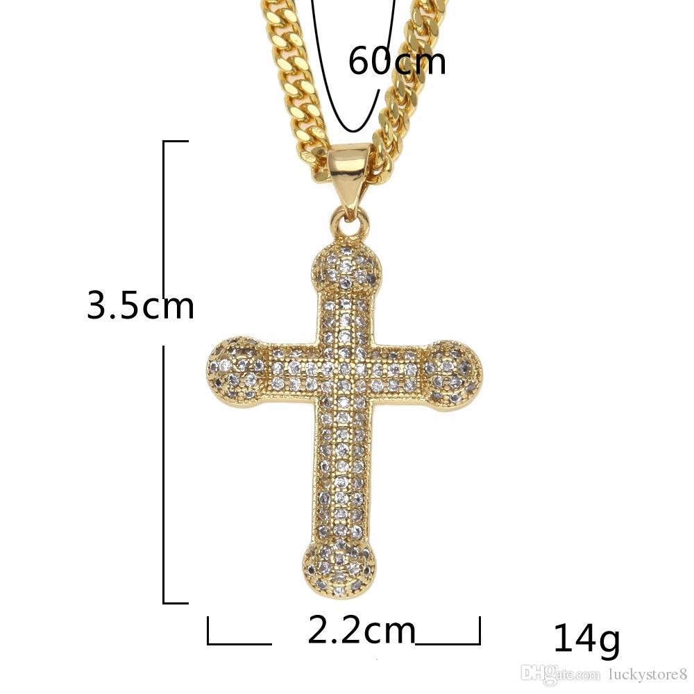 Hommes Classique En Acier Inoxydable Pour Hommes Chaînes 18K Véritable Plaqué Vintage Latin Christian Cross Pendentifs Colliers