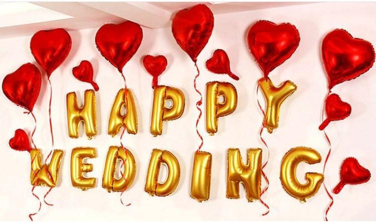 16 pouces Or et Argent Lettre Balloon Feuille D'aluminium Helium Ballons pour La Fête De Mariage Décoration De Célébration Fournitures