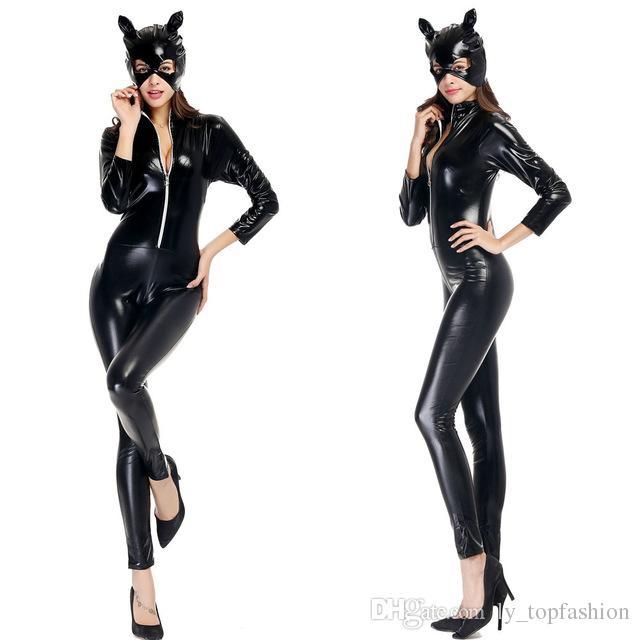 grosshandel halloween kostume erwachsene frauen deluxe leder rider motorrad jacke cat lady catwoman kostum catsuit overall von ly topfashion 22 06 auf de