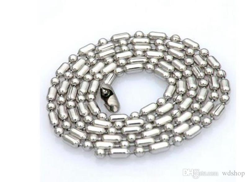 2.4mm/3mm Silver Color Stainless Steel Bamboo Ball Bead Chains Bulk For Diy Bracelet Necklace Jewelry Findings Making