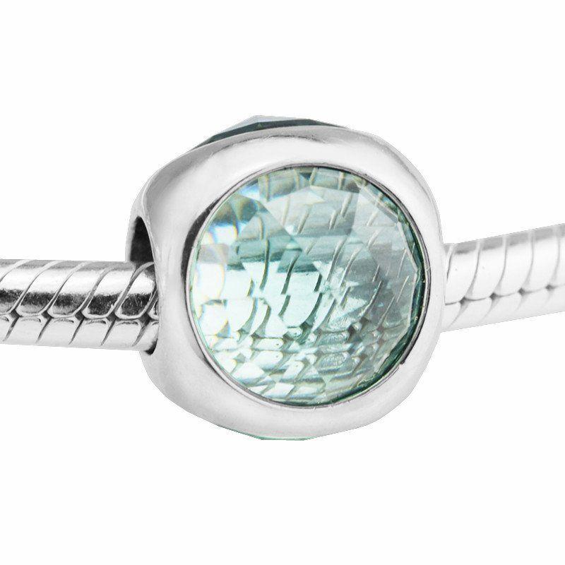 Ледяной зеленый бисер подвески Кристалл серебро 925 подходит для pandora ювелирные изделия браслеты S925 стерлингового серебра бесплатная доставка H7 ледяной зеленый Лучистый капелька