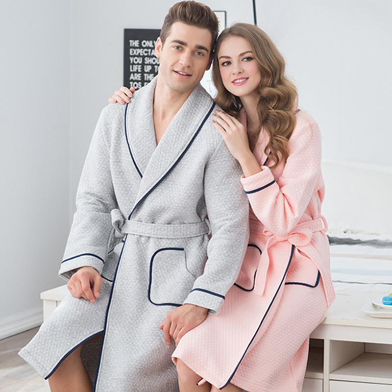 2019 Wholesale 100% Cotton Flannel Couples Bathrobe Thick Unisex Bath Robe  Winter Autumn Thickening Terry Lovers Bath Robes Women Cotton Robe From  Benedica 6c94a7725