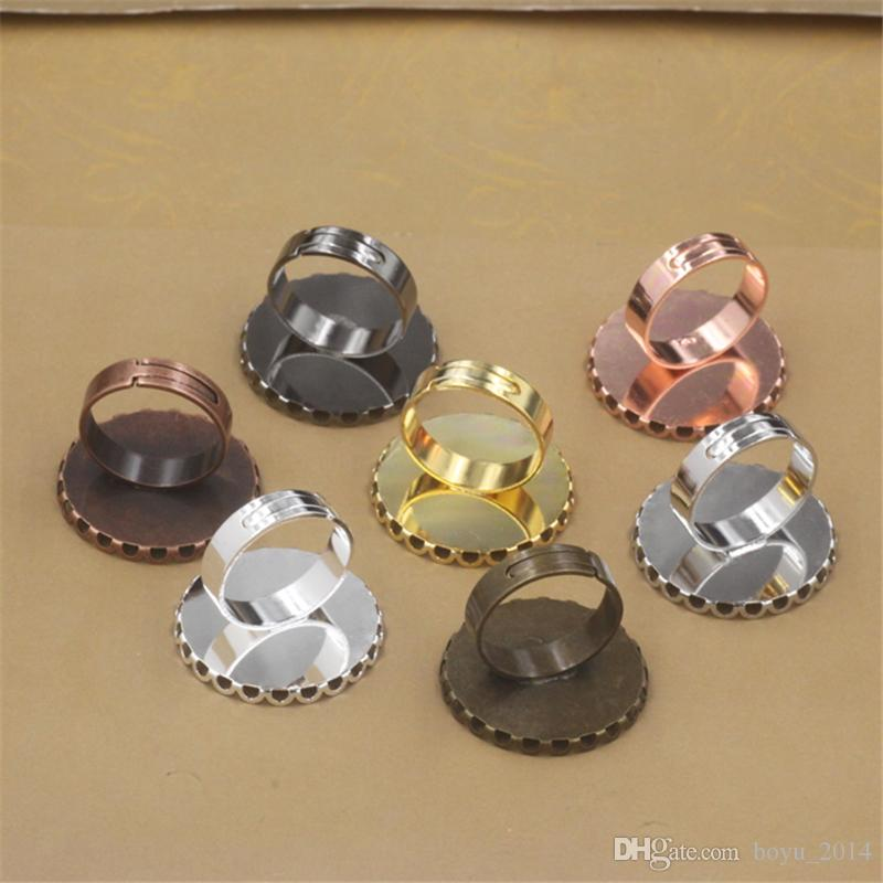 BoYuTe 25MM 30MM Round Cabochon Base Ring Settings DIY Jewelry Findings & Components Ring Blanks