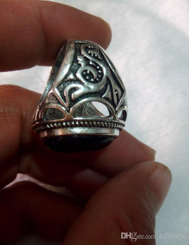 China's Tibet Tibetan silver peace ring 19 to 20 mm in diam A3