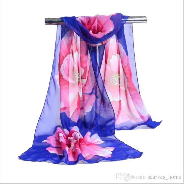 Fabrik Günstige Frau Schal Silk Marke Luxury Print Blume Polyester Damen Chiffon Scrawl Blume Gedruckt Wrap Schal