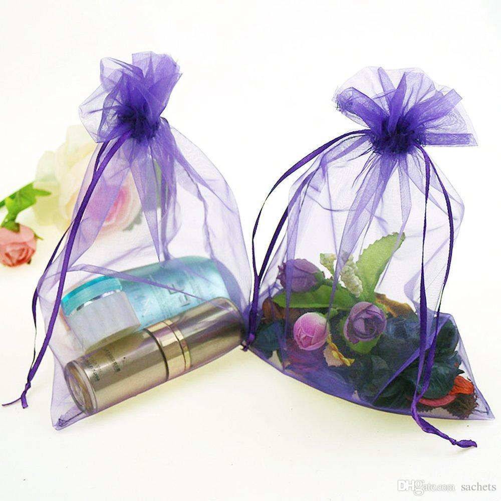 empty Drawstring organza Sachets Wedding Gift Bags & Pouches - Purple
