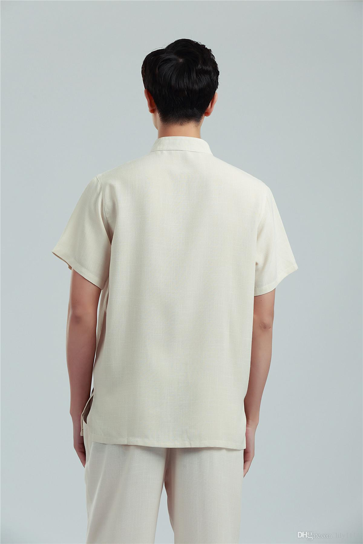 Shanghai Story Short Sleeve traditional chinese clothing for men linen shirt men tai chi shirt tang suit kungfu Shirt hanfu