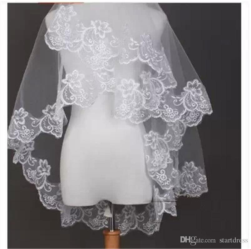 Sıcak Satış Beyaz Fildişi 1.5 M Dantel Gelin Veils Moda Promosyon Tek Katlı Dantel Düğün Veils Custom Made Gelin Accessoires 10