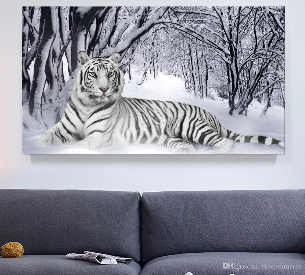 Winter Wall Art 2017 white tiger winter landscape giclee print canvas wall art for