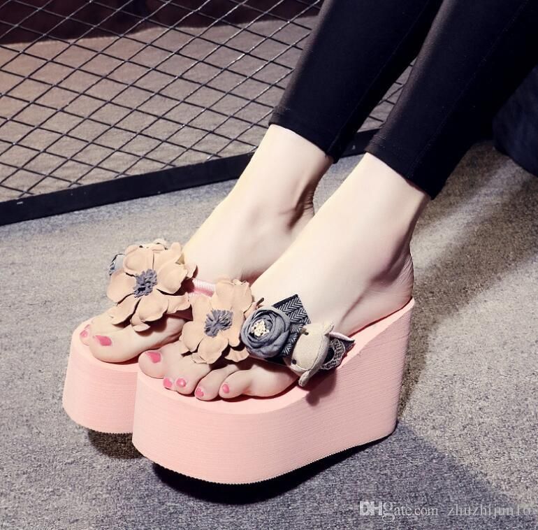 Bohemia Style Female Slipper Women'S Wedge Heels Shoes Ladies ...