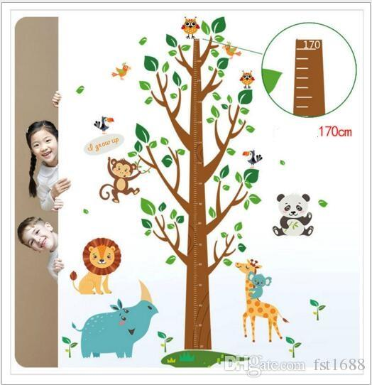 SK2001AB Large Trees Height Stickers Removable Panda Wall Stickers Height Measure For Kids Room Owl Monkey Elephant Wall Decal Home Decals