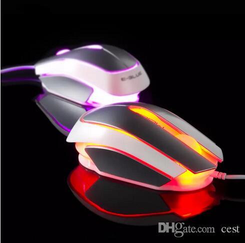 2017 nova E-3lue EMS633 3D Optical Wired Gaming Mouse com 2400 dpi interruptor USB 3 Botões de Mesa de Escritório Preto Prata rato fresco