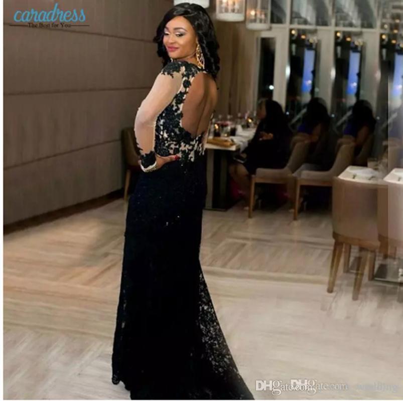Abiti da sera eleganti in pizzo nero 2017 Sheer Maniche lunghe Prom Party Abiti formali Deep V Neck Side Split Mermaid Special Style