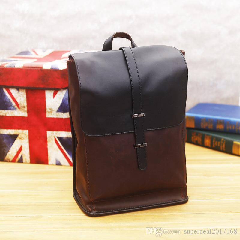 new retro male package of high quality leather men backpack retro business mens casual school bags of leisure and Fashion Institute wind bag