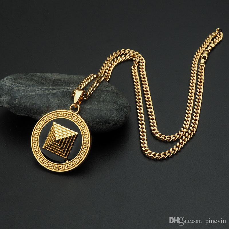 crystal pyramid round pendant necklace hip hop gold plated necklaces with chain jewelry for men or women item number hps028