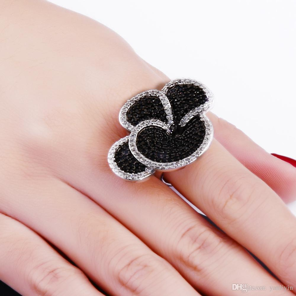 Great Product Big Flower Ring in Black And White Color Setting AAA ...