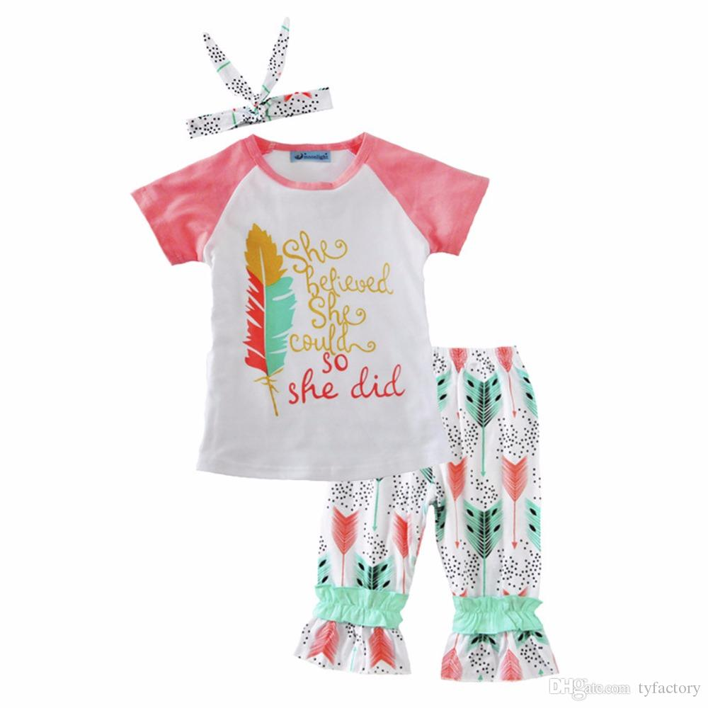 Kids girls clothing set inspirational letter print pink feather T-shirt arrow ruffles trousers dot handband outfits 6M-3Y Baby Toddler