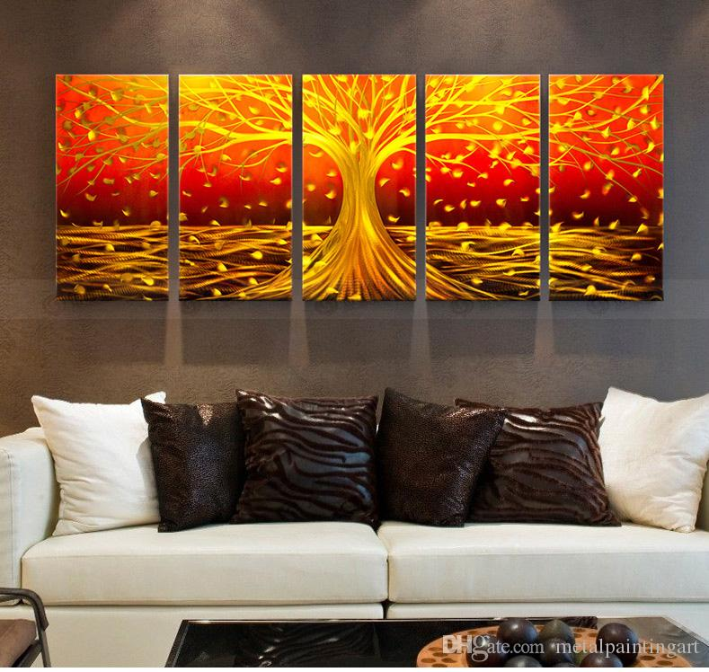 abstract metal wall art large yellow tree painting cheap decor ebay