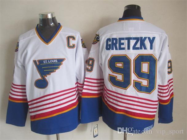 Hockey sur glace 99 Wayne Gretzky Jersey Hommes New York Rangers St Louis Blues La Los Angeles Kings Edmonton Oilers Bleu Blue White Retro Vintage