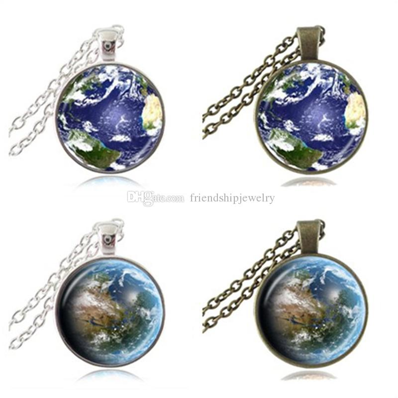 Wholesale mother earth photo necklace globe pendant planet jewelry see larger image mozeypictures Gallery