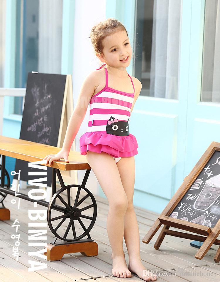 9bbebb56e71c9 Chiildren Girls Swimwear with Swimming Cap One Piece Strap Cute Baby Cat  Striped Skirt Swimsuit Hot Sale Highly Elastic Comfortable Swimsuit Quick  Drying ...