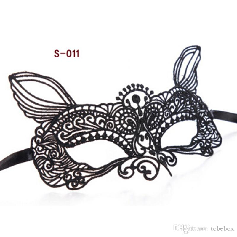 Black Sexy Lady Girls Lace Half Face Mask Cutout Eye for Sexy Halloween Masquerade Venetian Party Fancy Dress Costume For Christmas Disco