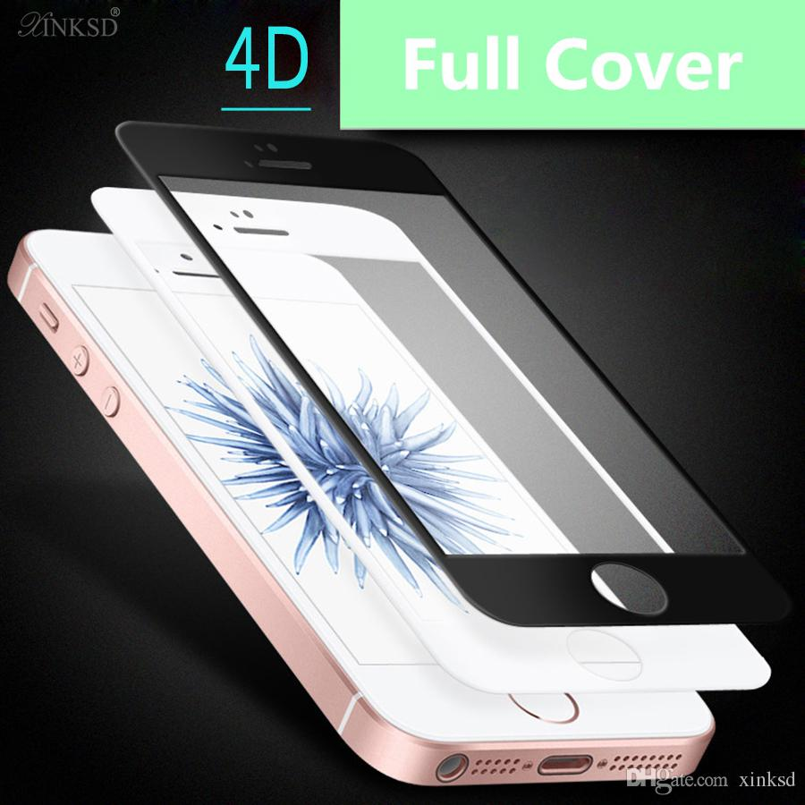 2017 high quality Screen Protector For iPhone 5 5S SE 4D Tempered Glass Film 9H Hardness Edge hot sales