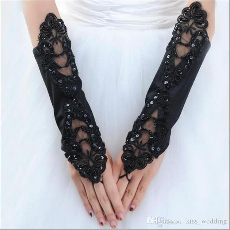 Cheap Price Lace Fingerless Appliques Below Elbow Length Gloves Short Bridal Wedding Gloves With Crystals White Ivory In stock