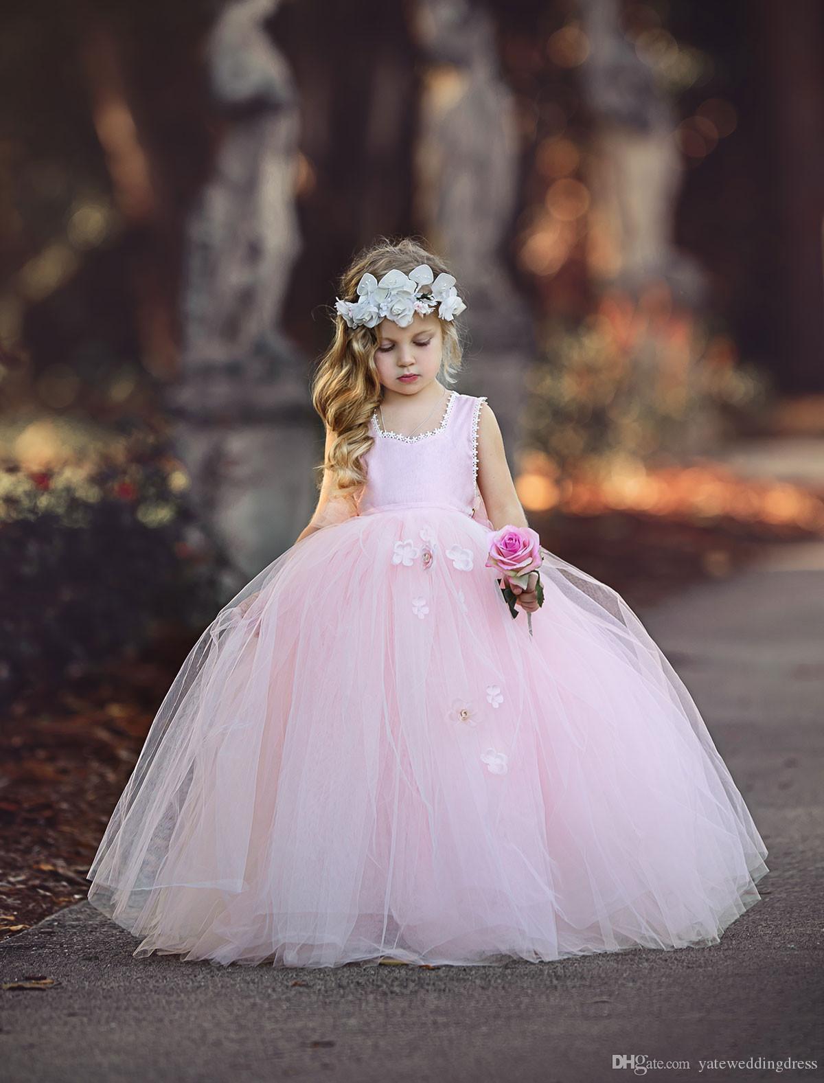 Hellrosa Blumen Mädchen Kleider Scoop Ausschnitt Ärmellos Geburtstag Kleid Zurück Reißverschluss Ballkleid Mit Handgemachten Blumen Tiered Custom Made