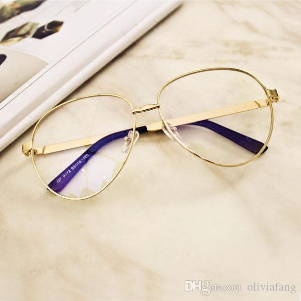 bf9a0aac3f Elegant Unisex Glasses Women Men Sunglasses With Plain Lens Big Gold Frame  Eyeglasses Fashion Eyewear HOT SELLING Brand Design Glasses Police  Sunglasses ...