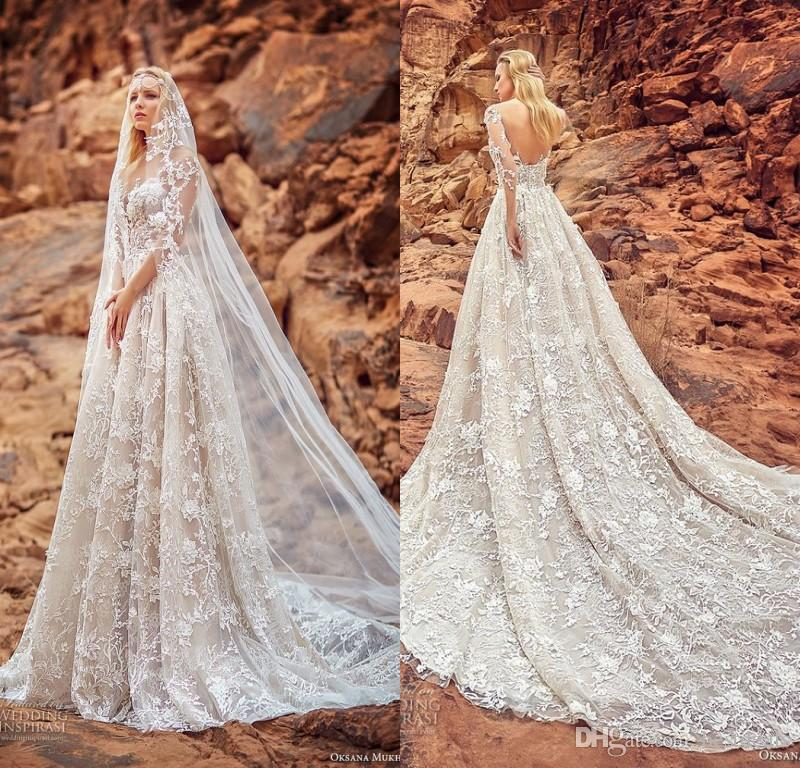 bae7ed9ef1bf Discount Oksana Mukha 2018 Gorgeous Full Lace Wedding Dresses Sheer Long  Sleeves Tulle Court Train Bridal Gown Low Back Halter A Line Wedding Dress  Straight ...