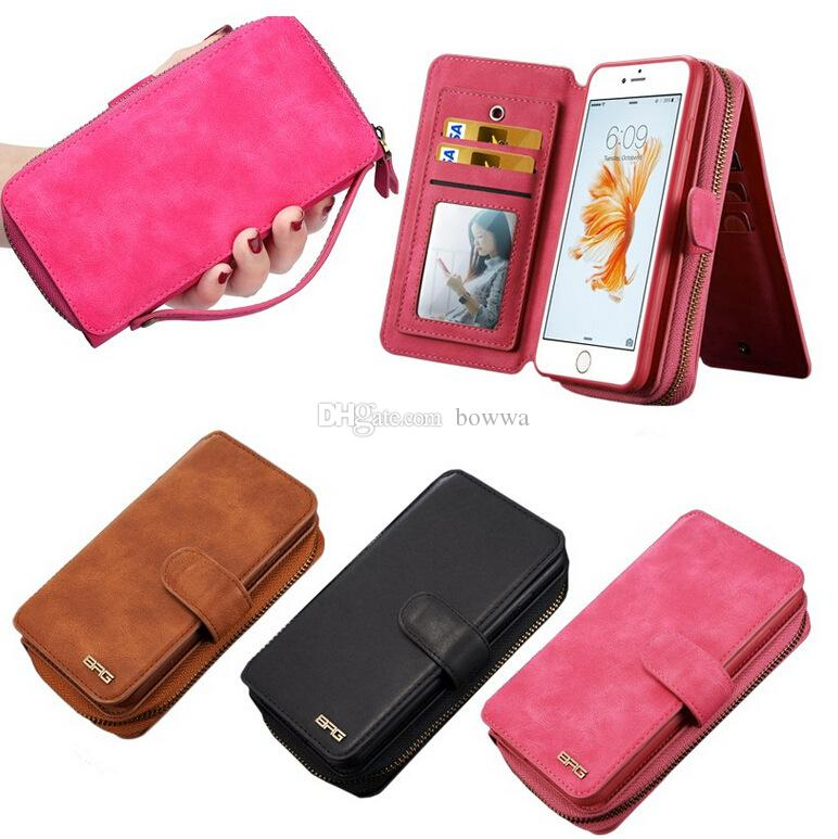 cheap for discount c90c1 8854d For iphone 6S 7 Portable Magnetic Detachable Pouch Purse Card Wallet Bag  TPU inner BRG Mirror For iPhone6 7 plus Samsung Galaxy S7 edge