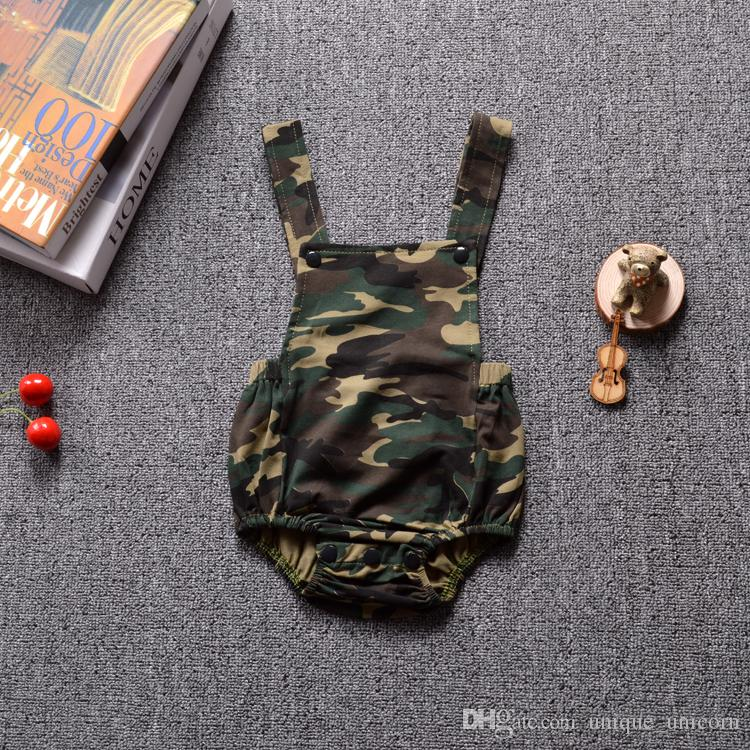2017 summer INS baby boys girls rompers toddler suspender camouflage triangle babysuits newborn infant romper open crotch jumpsuits