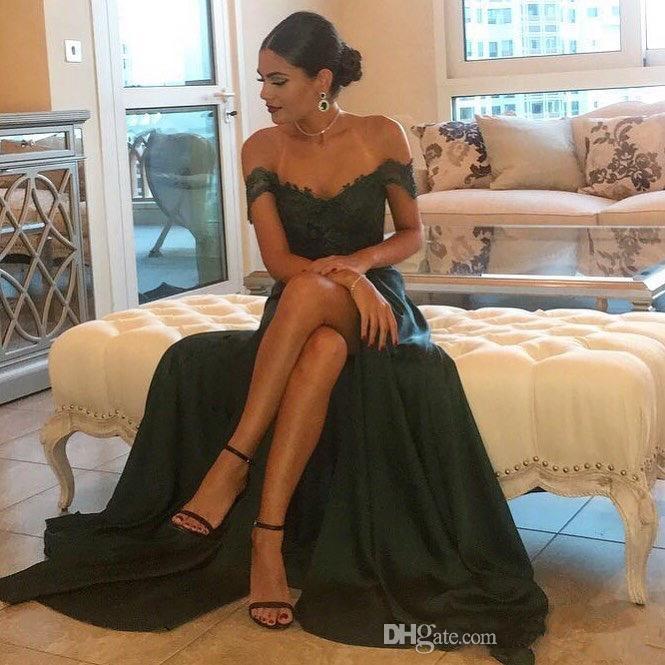 Verde escuro 2019 sexy vestidos de baile de uma linha chiffon off-a-ombro até o chão de alta side dividir rendas elegante longo vestido de noite vestido formal