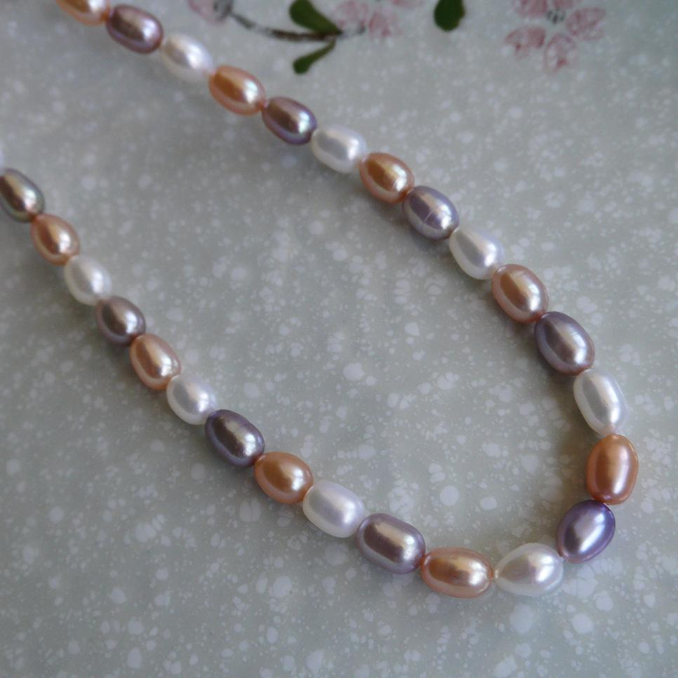 2017 new DIY beads Mix colour Grain shape Natural fresh water pearl necklace 6--7mm loose beads of pearl accessories wholesale
