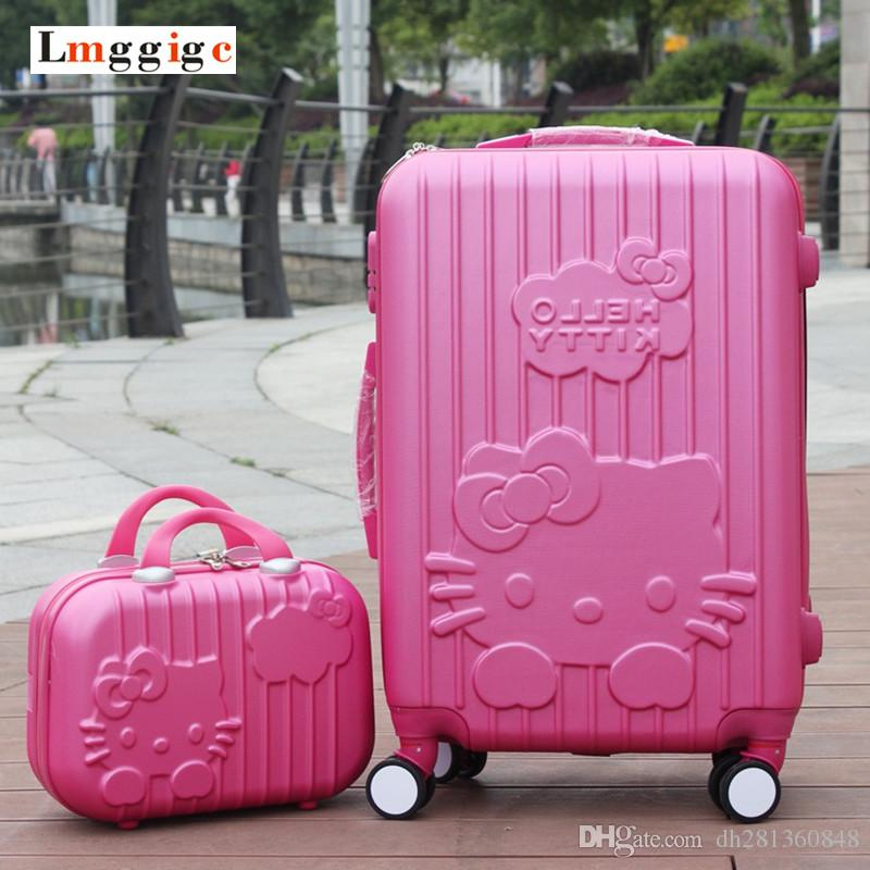 8a4706d9c Hello Kitty Luggage Set,Candy Color KT Suitcase,ABS Material Carry Ons,20  &24 Traveling Box ,Trolley Travel Bag+Cosmetic Case Laptop Suitcase Kid  Suitcases ...