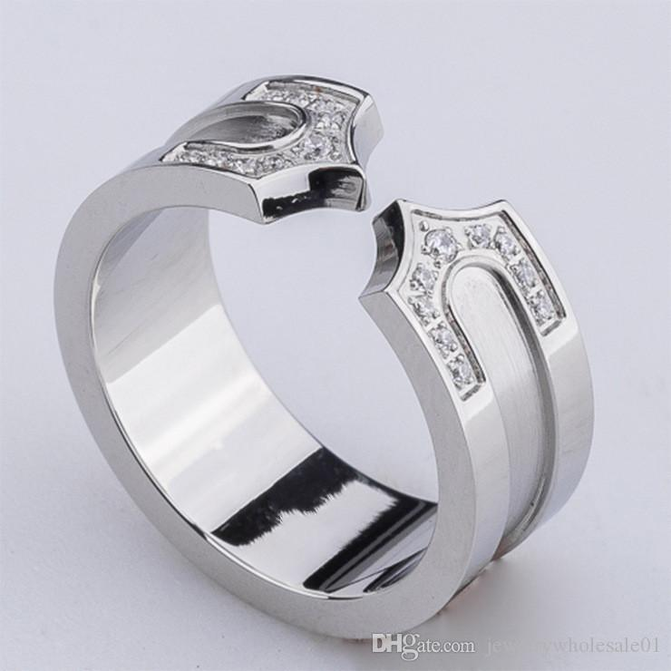 Wholesale fashion with zircon titanium ring ring and double arrow tip opening pull ring jewelry