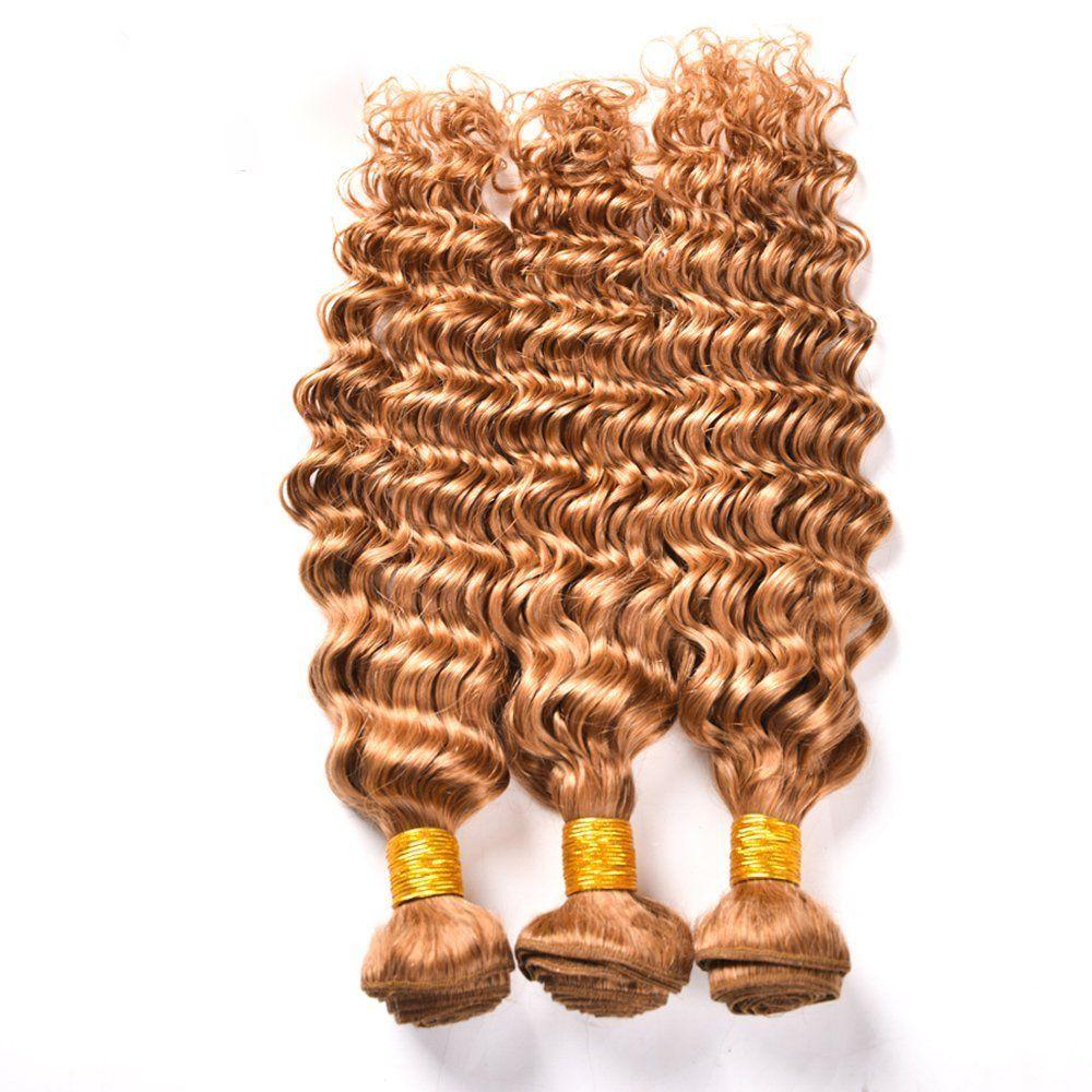 # 27 Honey Loira Cabelo Humano 3 Pacotes Com Laço Frontals Malaio Tecer Cabelo Virgem Onda Profunda Com Fechamento de Renda Frontal Lote