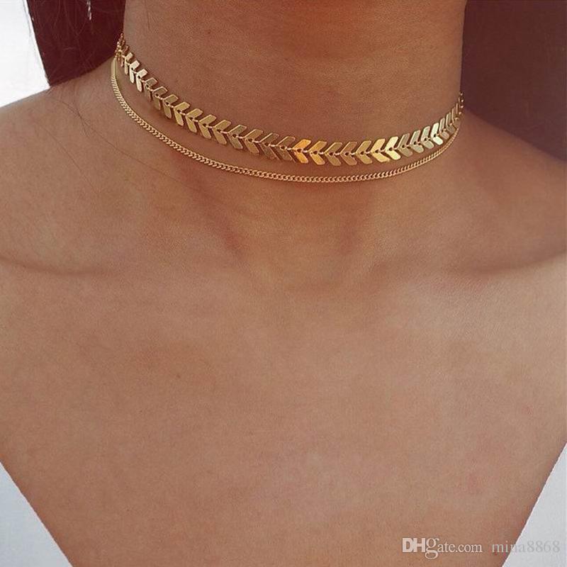 73fe35fd090c Compre Ventas Calientes Ajustable Metal Fishbone Choker Collar Para Las  Mujeres Tono De Oro De Doble Capa Collar De Cadena Al Por Mayor A  0.88 Del  Mina8868 ...