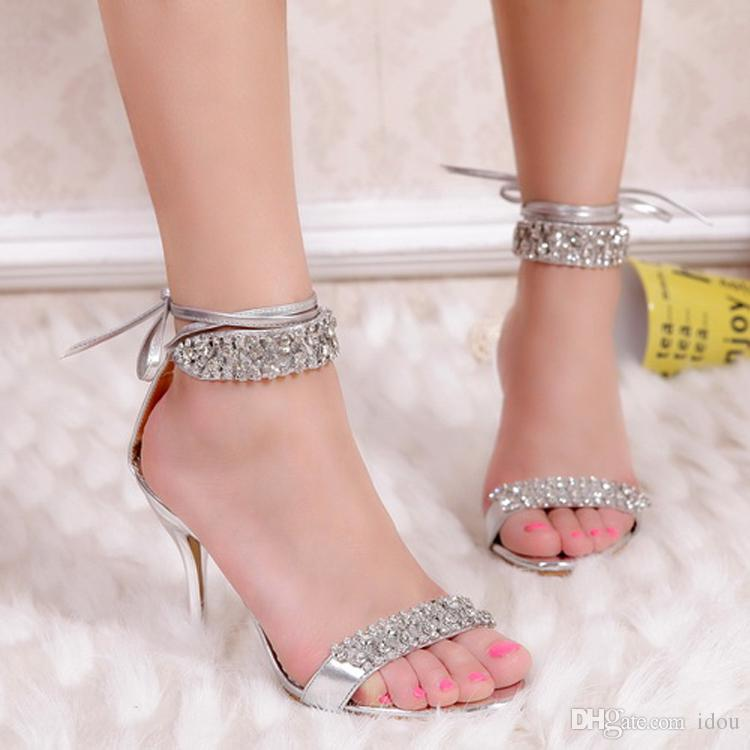 New Fashion Gold Silver Rhinestone Heels Wedding Shoes High WomenS Shoe Bridal Sandal Royal Blue