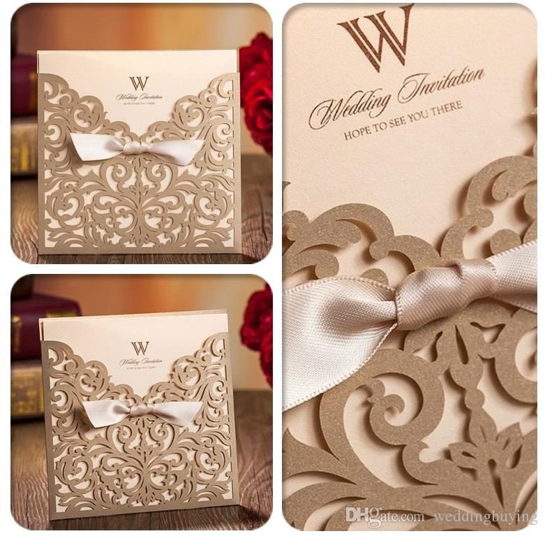 Wholesale Personalized Wedding Invitation Cards Gold Wedding Invitation  Thank You Cards Modern Designs Card DHL In Low Price White Invitation Card  Ivory ...